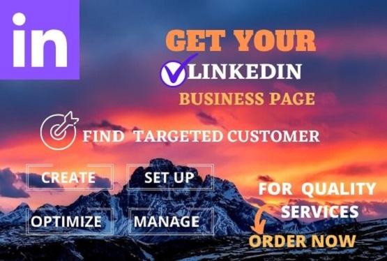 I can create,  setup and SEO optimize your Linkedin business page