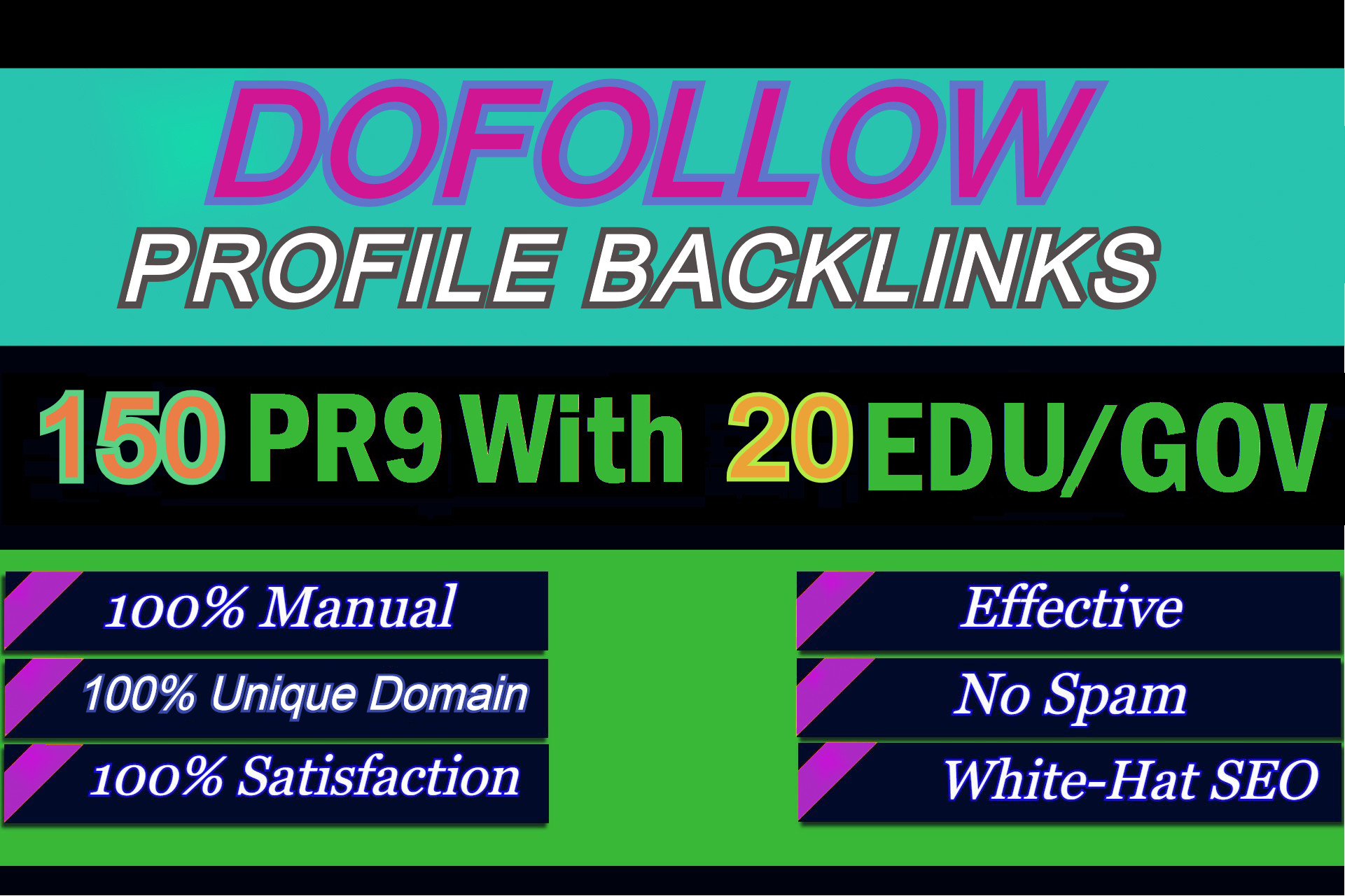 I will manually do 150 pr9 And 20 edu gov Dofollow Profile backlinks