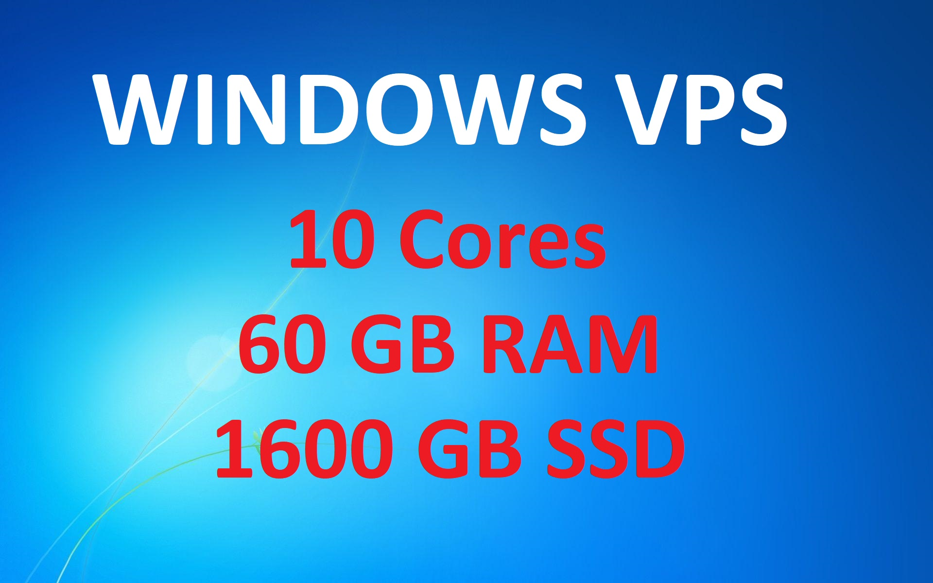 RDP Windows VPS with 1600GB SSD Space and 60GB RAM