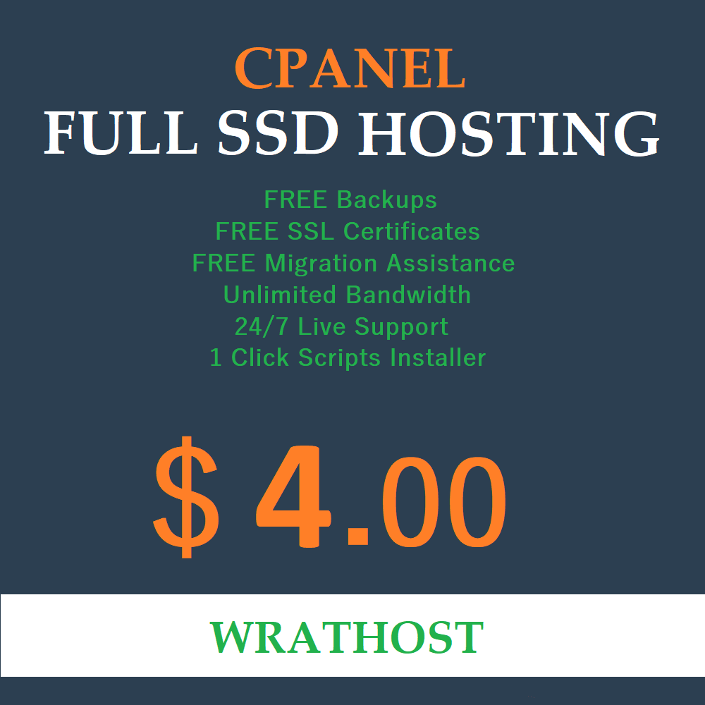 Unlimited SSD Web Hosting cPanel Softaculous
