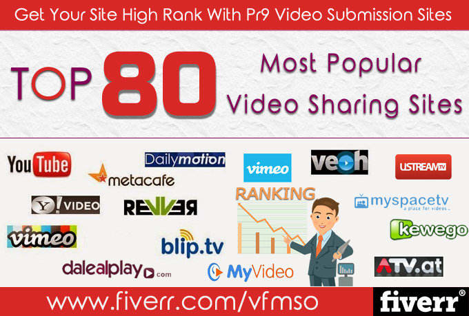 I will make manual video submission on top 85 video sharing sites