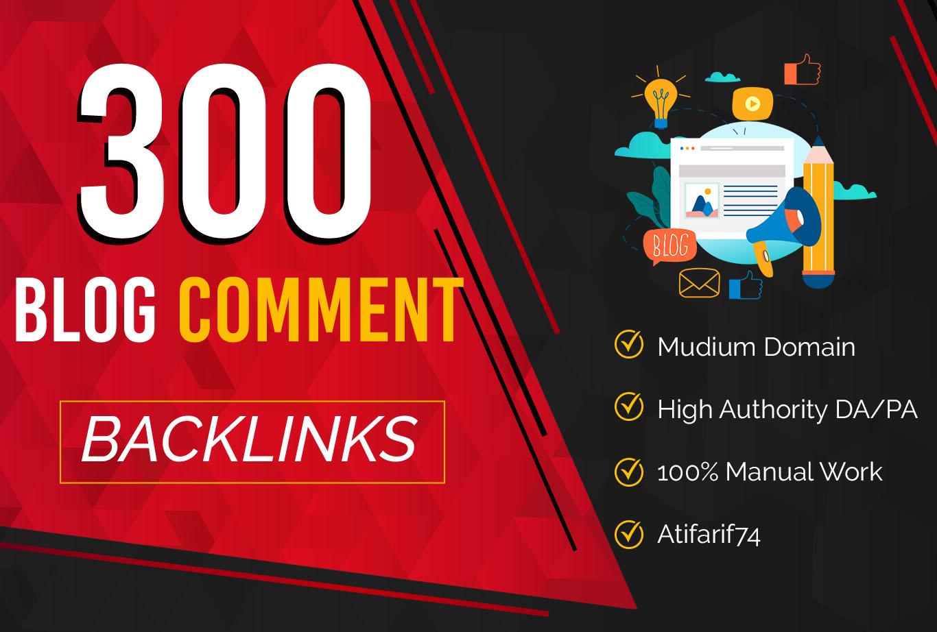 I will Provide 50 Blog Comments Backlinks on High DA PA Blog