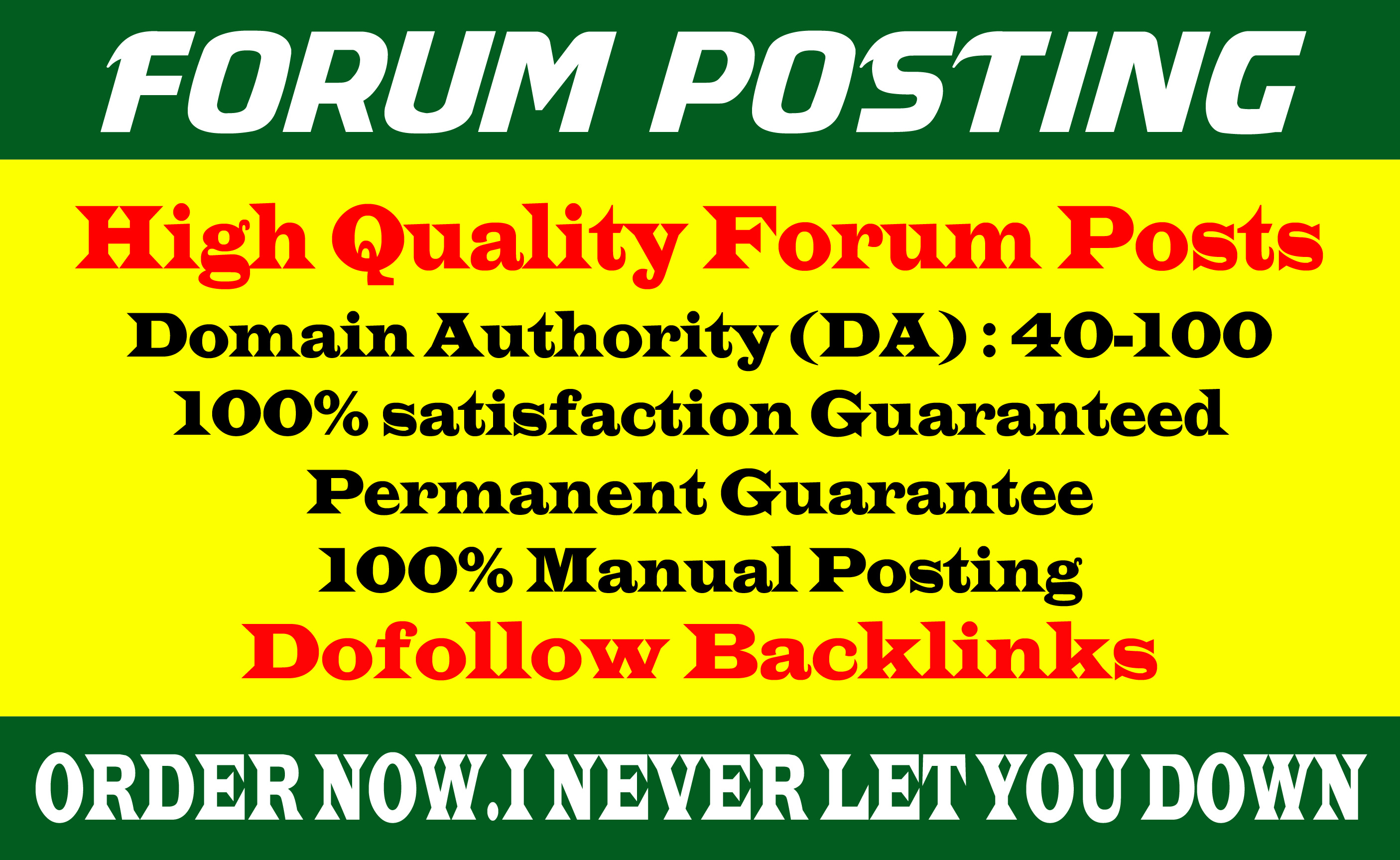 Provide 50 dof0llow forum posting backlinks on High DA Site