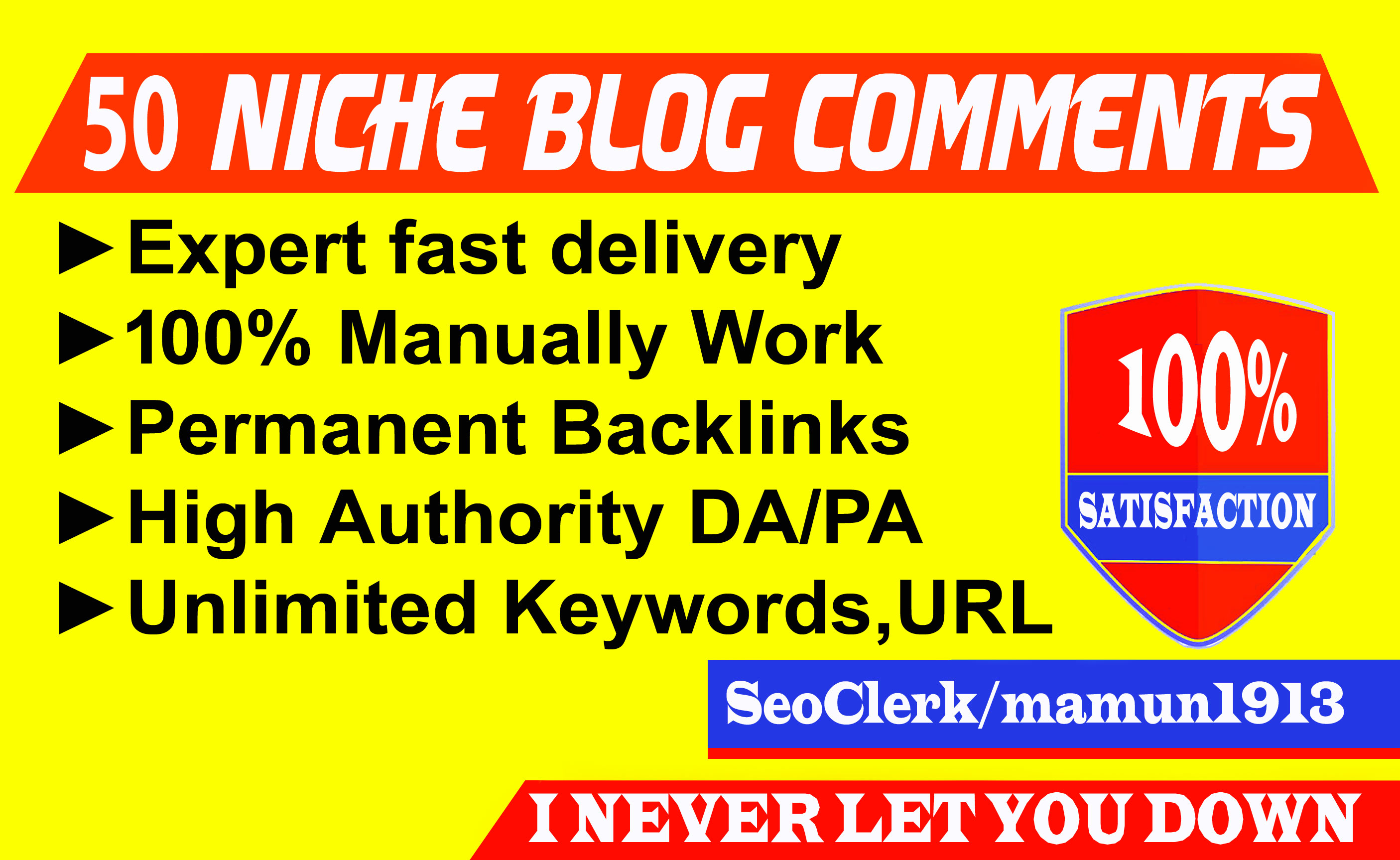 Build 50 Niche Relevant Blog Comments SEO Backlinks