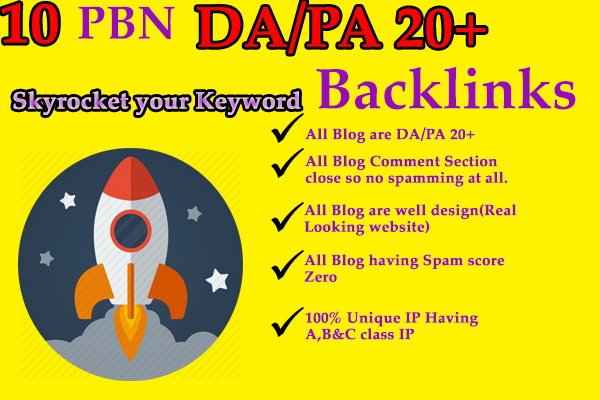 Provide 10 High DA/PA 20+ Permanent Backlinks
