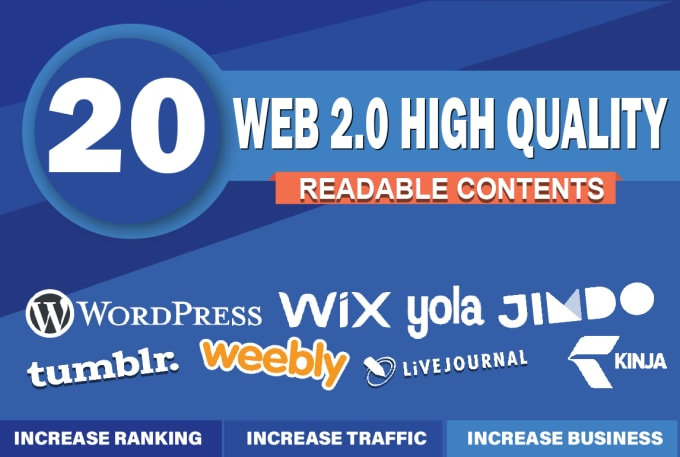 I will create 20 super web 2.0 blog properties contextual backlinks