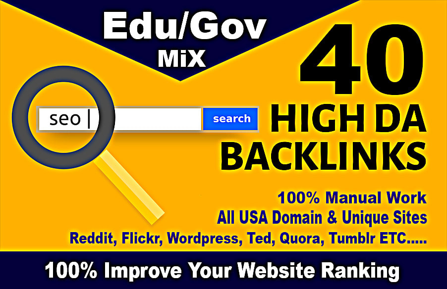 top 40 usa pr9, edu dofollow seo backlinks service link building