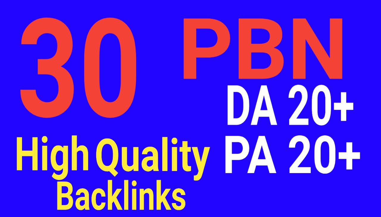 i will Build 30 HomePage PBN Backlinks All Dofollow High DA/PA