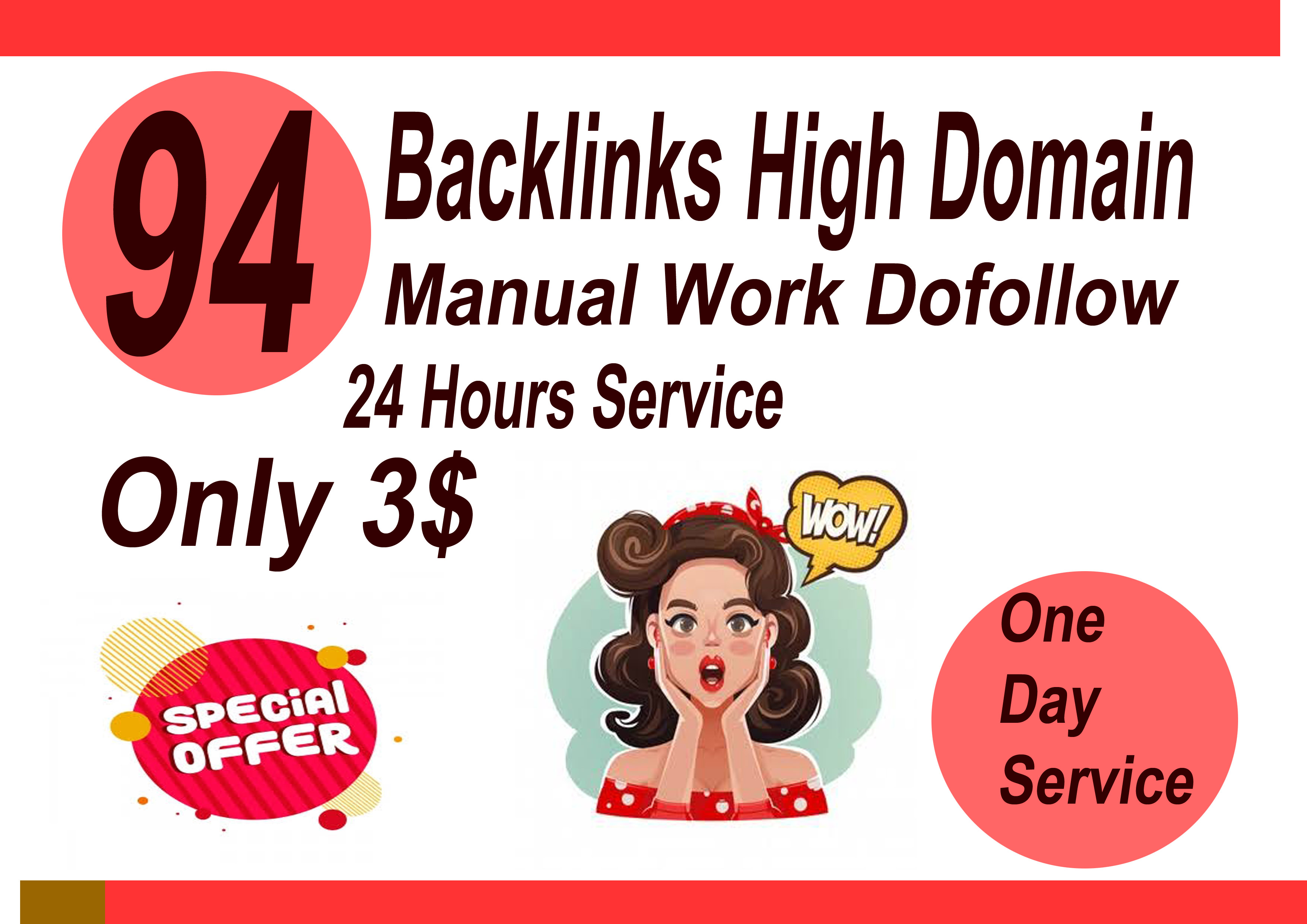 I will do 94 backlinks High Domain one day serivce