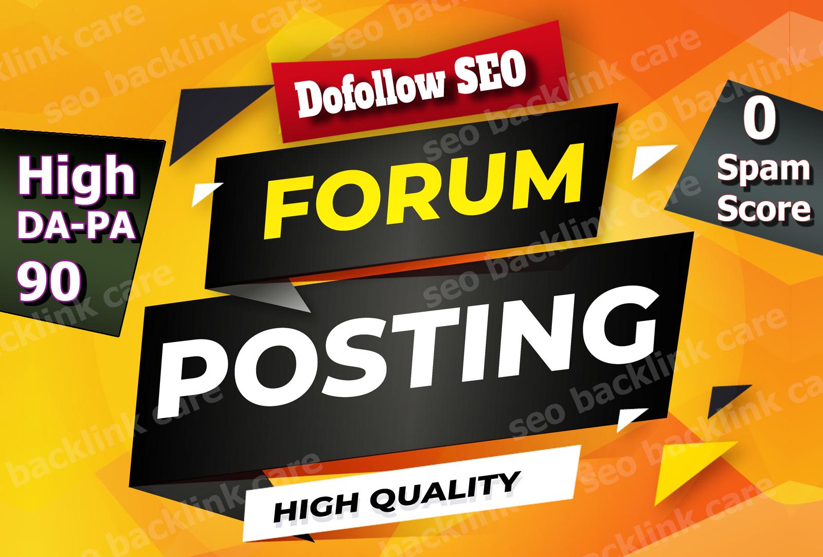 Manually create 20+ Forum posting High da-pa90 0 spam score 0 SS Forum posting backlinks