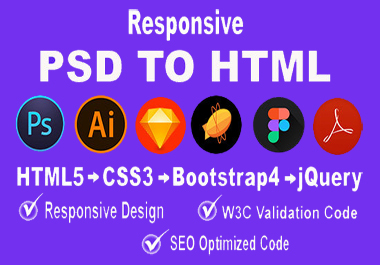I will convert psd to html with responsive design