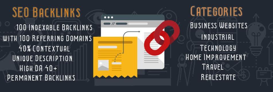 Providing you 100 Dofollow Backlinks with 100 Referring Domains DA 40+