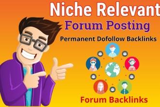 I will Build 20 Dofollow Backlinks on Relevant Forums DA 50+