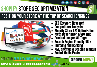l'll do Shopify Store SEO optimization,  Product Tags,  Meta Description,  Alt Tags and Schema Markup