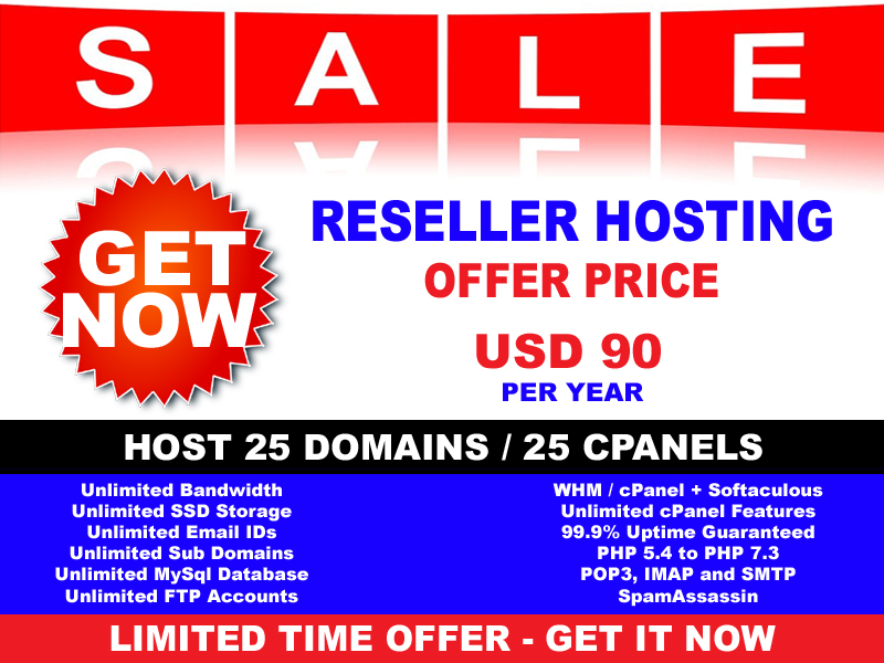 Unlimited SSD Reseller Website Hosting For 25 Websites WHM cPanel Softaculous