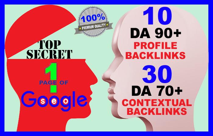 2020 SEO BOOSTER - Manually Created 10 High DA 90+ AND 30 DA 70+ Backlinks