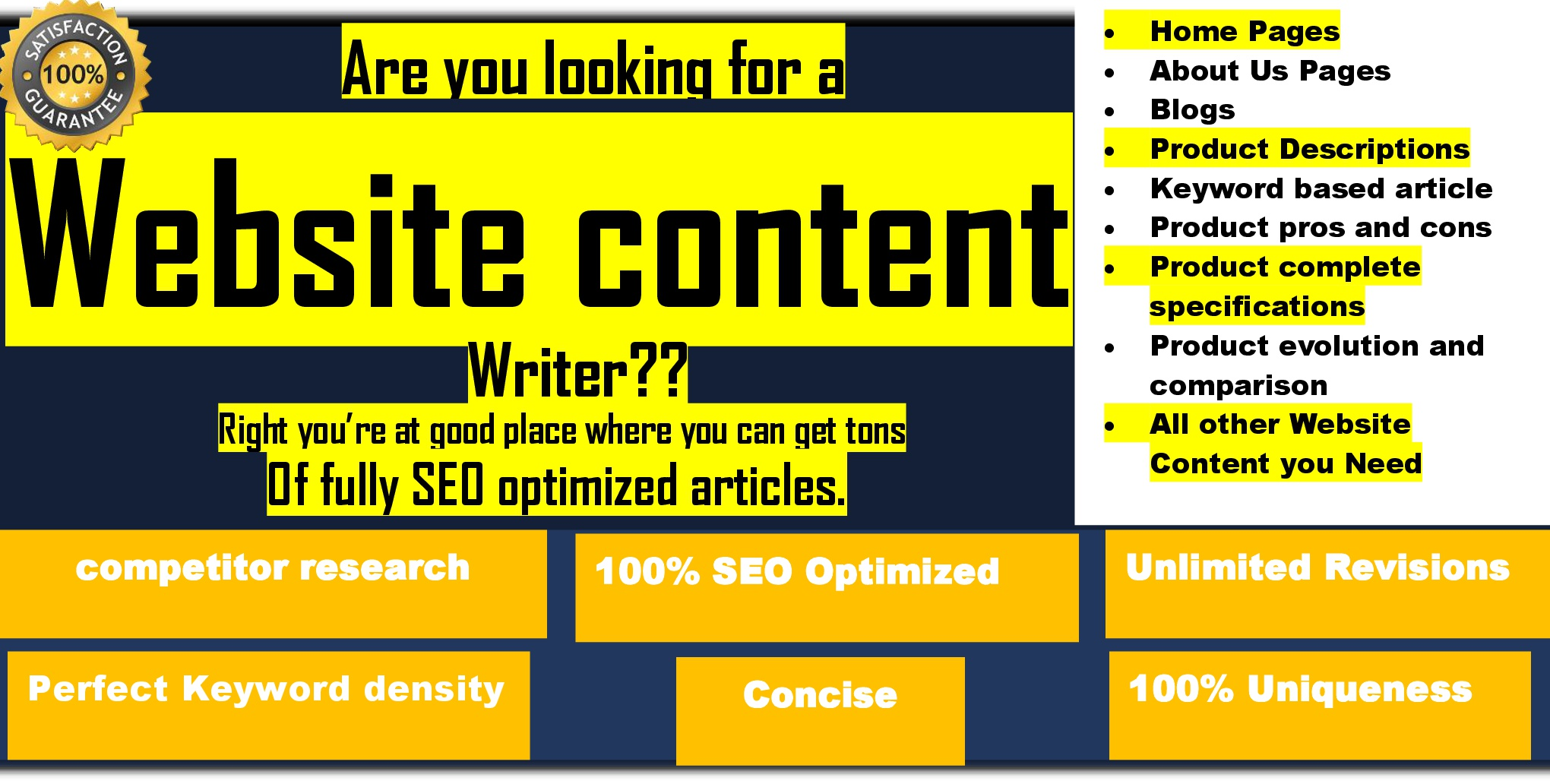 be SEO optimized content writer