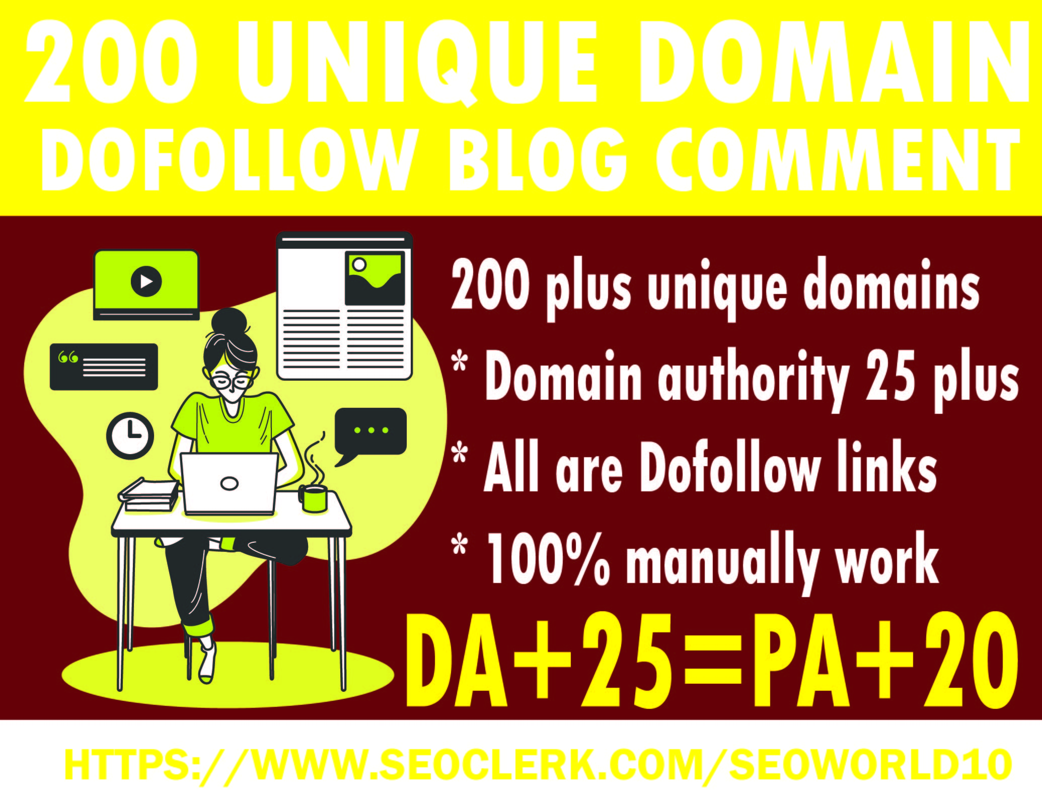 DO 200 unique domain doffolow blog comment high DA PA