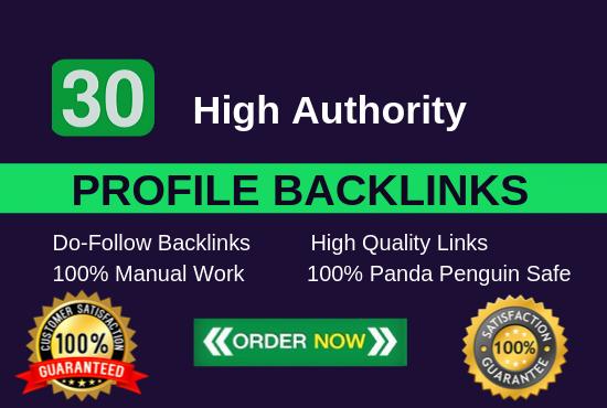 I will manually 30 profile backlinks