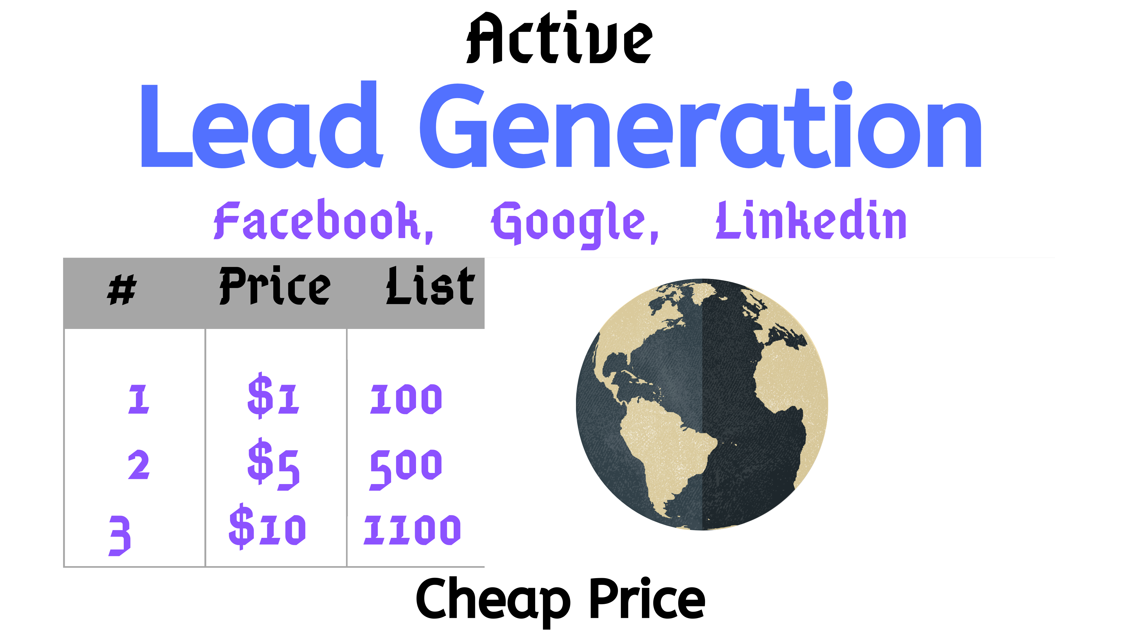 Google,  Linkedin,  Facebook Active Email Lead Generation