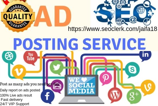 I will post your ads in top rank classified 25 ad posting sites