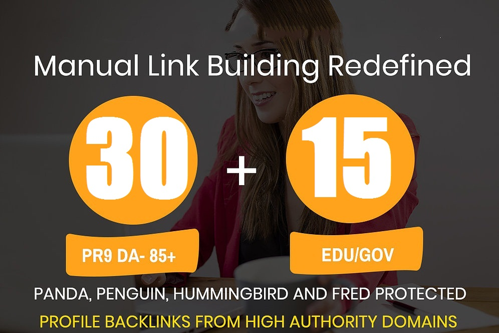 Get high quality 30 DA 80+ Profile backlink and 15 EDU/GOV Profile backlink