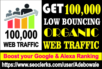 Get 100,000 Organic web traffic to your website/blog