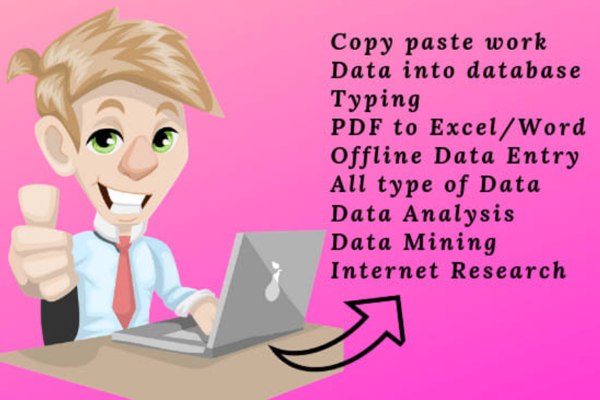 data entry typing work in excel spreadsheet