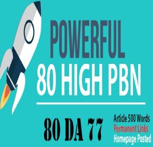 build 80 PBN Do-Folow DA 20+ Homepage parmanent post