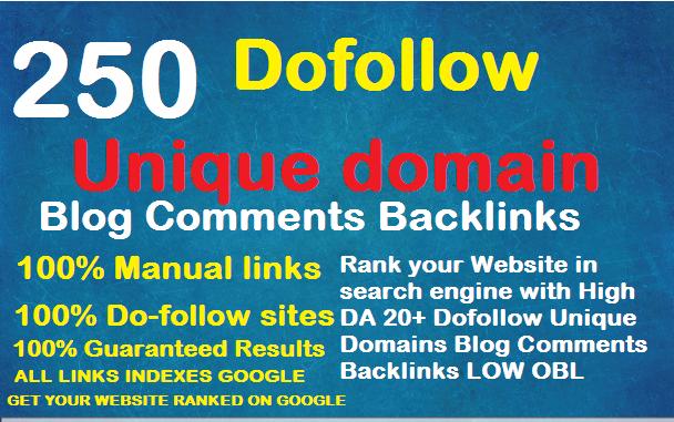 I will provide 250 unique domain Do-folow High DA PA Blog Comment Backlinks