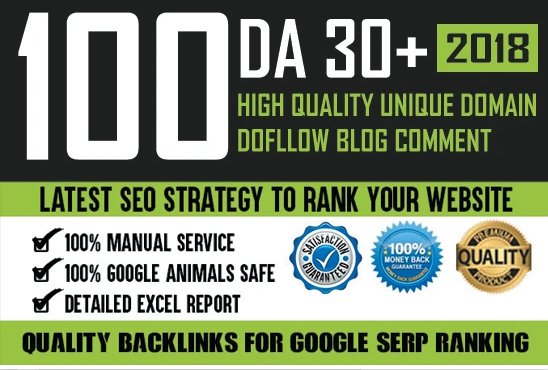 100 Unique Domain Do-Follow DA 30+ Blog Comment Backlinks