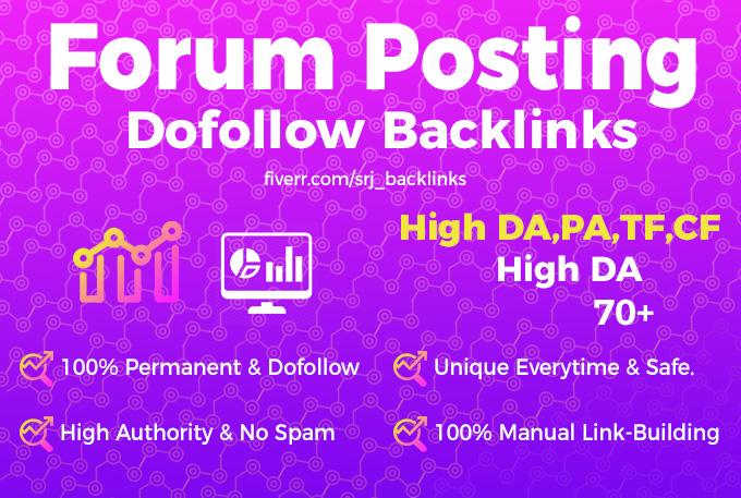 I will create 35+ high DA50 plus high quality and high authority forum posting backlinks