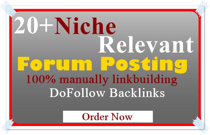 I Offer,  Unique 20 High Quality Niche Relevant Forum Posting Backlinks