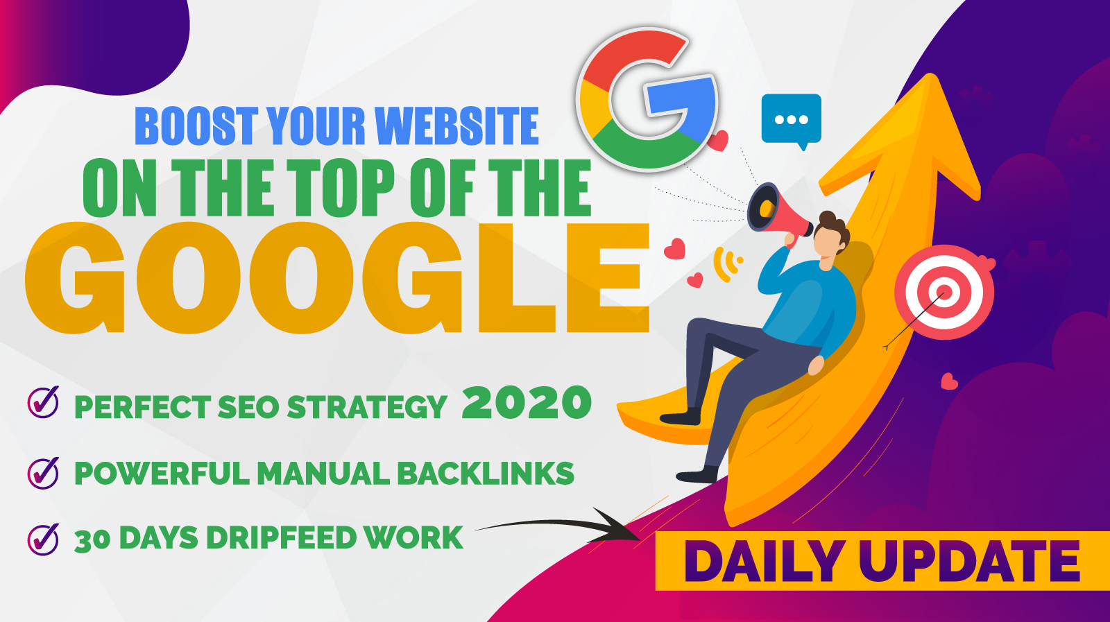 Boost your website on the #1 of google with out 30 days drip feed packages