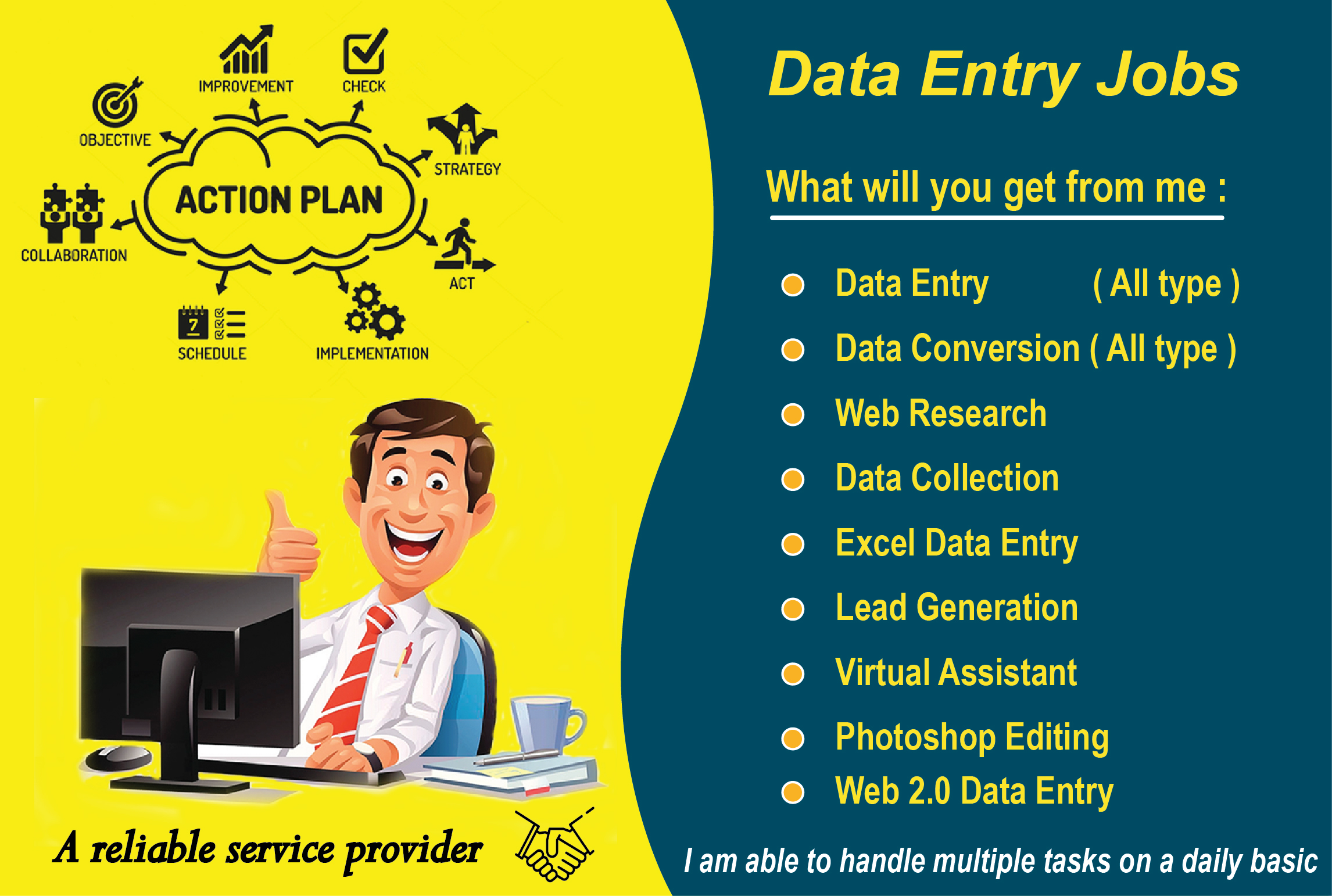 I will do any kind of Data Entry most accurately.