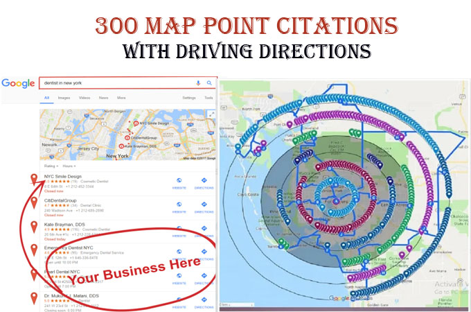 I will do 300 map point citations with driving directions for any country