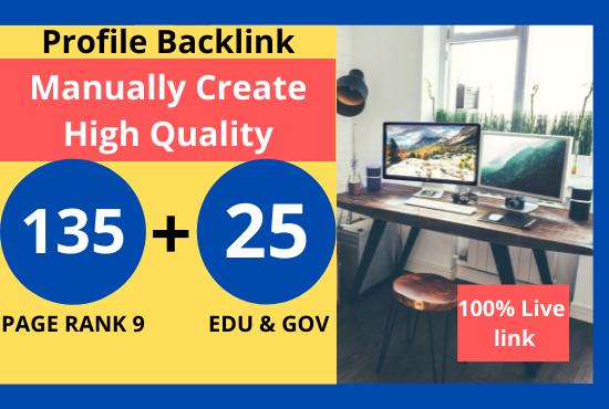 I will Manually Create 135 profile + 25 Edu/Gov Dofollow BAcklink