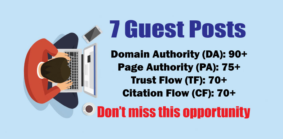 Publish 7 Guest Posts on DA90+ to Boost Keyword Ranking