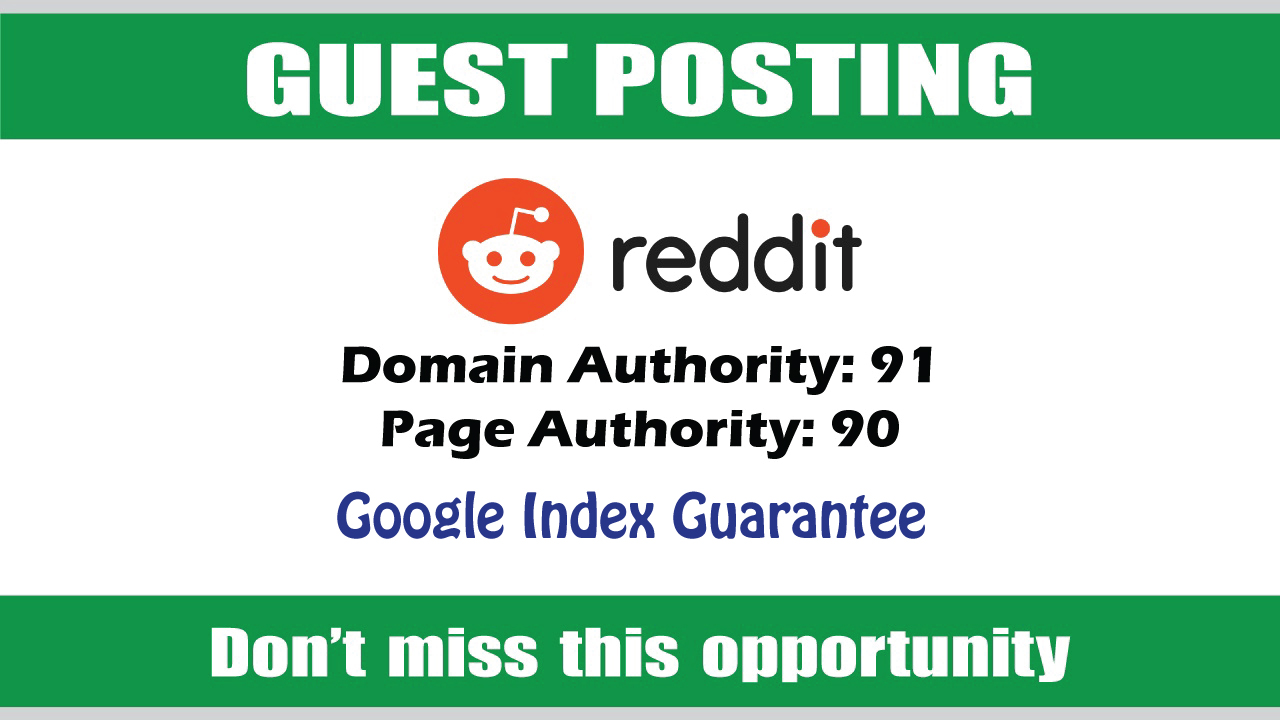 Write & Publish Guest Post on Reddit DA91 - Google Indexing
