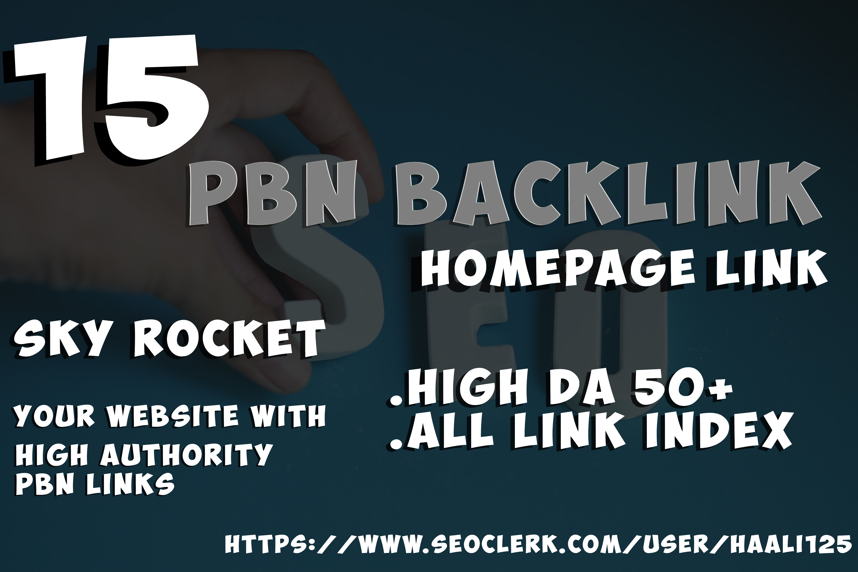 homepage Permanent 15 PBN High 50+ Plus DA PA CF TF Moz Backlinks