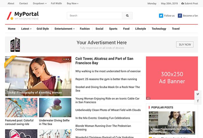 MyPortal Magazine WordPress Theme by HappyThemes