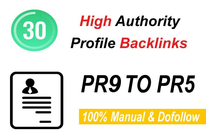 I will manually create 30 pr9 da 90 dofollow profile backlinks