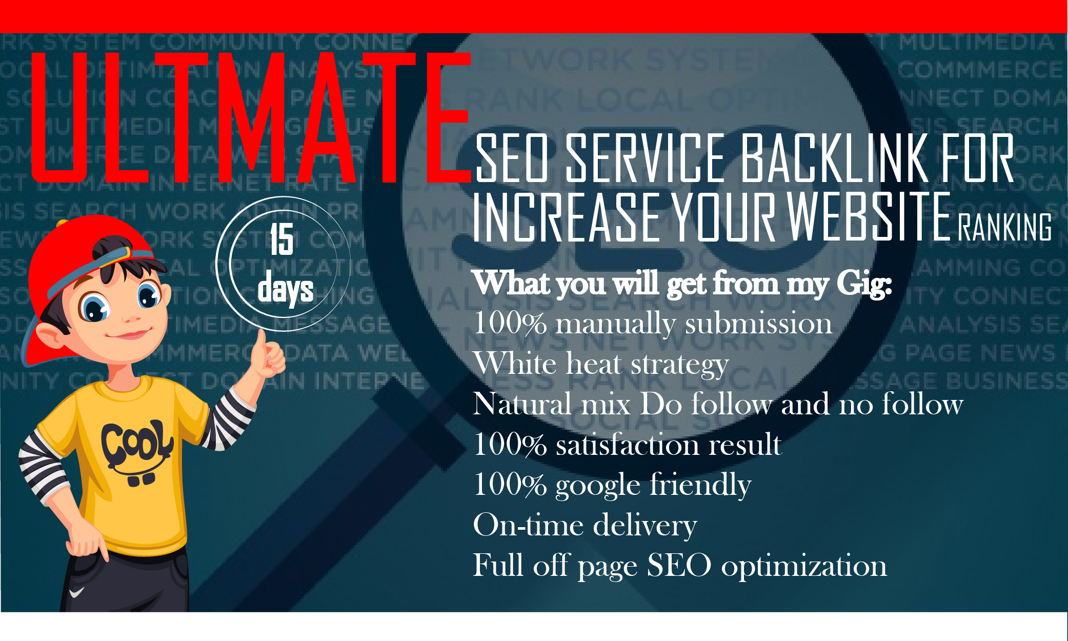 I will create 15 day SEO white hat backlinks package