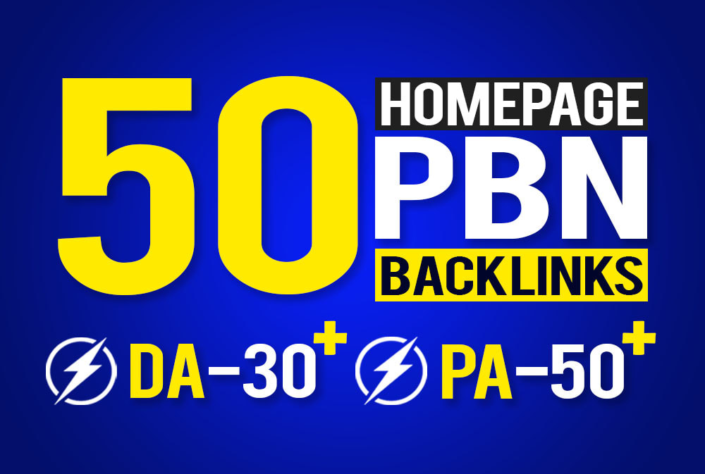 provide 50 homepage seo pbn backlinks PA 50 plus DA 30+ fast delivery