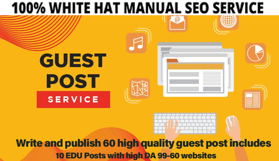 Write and publish 60 high quality guest post includes 10 EDU Posts with high DA 99-60 websites