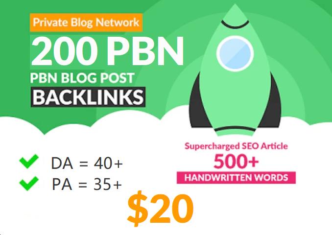 200 Unique PBN Post in Unique 200 domain Pa 35+ Da 40+