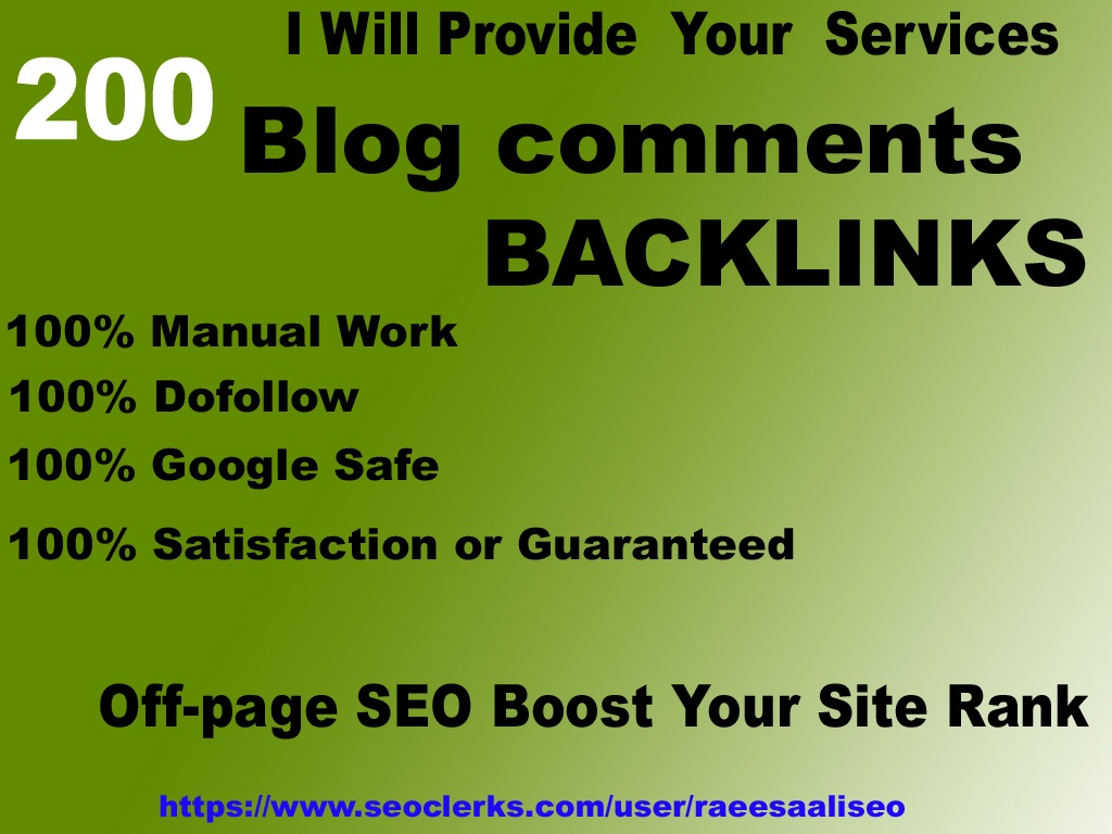 google ranking 200 blog comment on high DA/PA,  TF/CF SEO