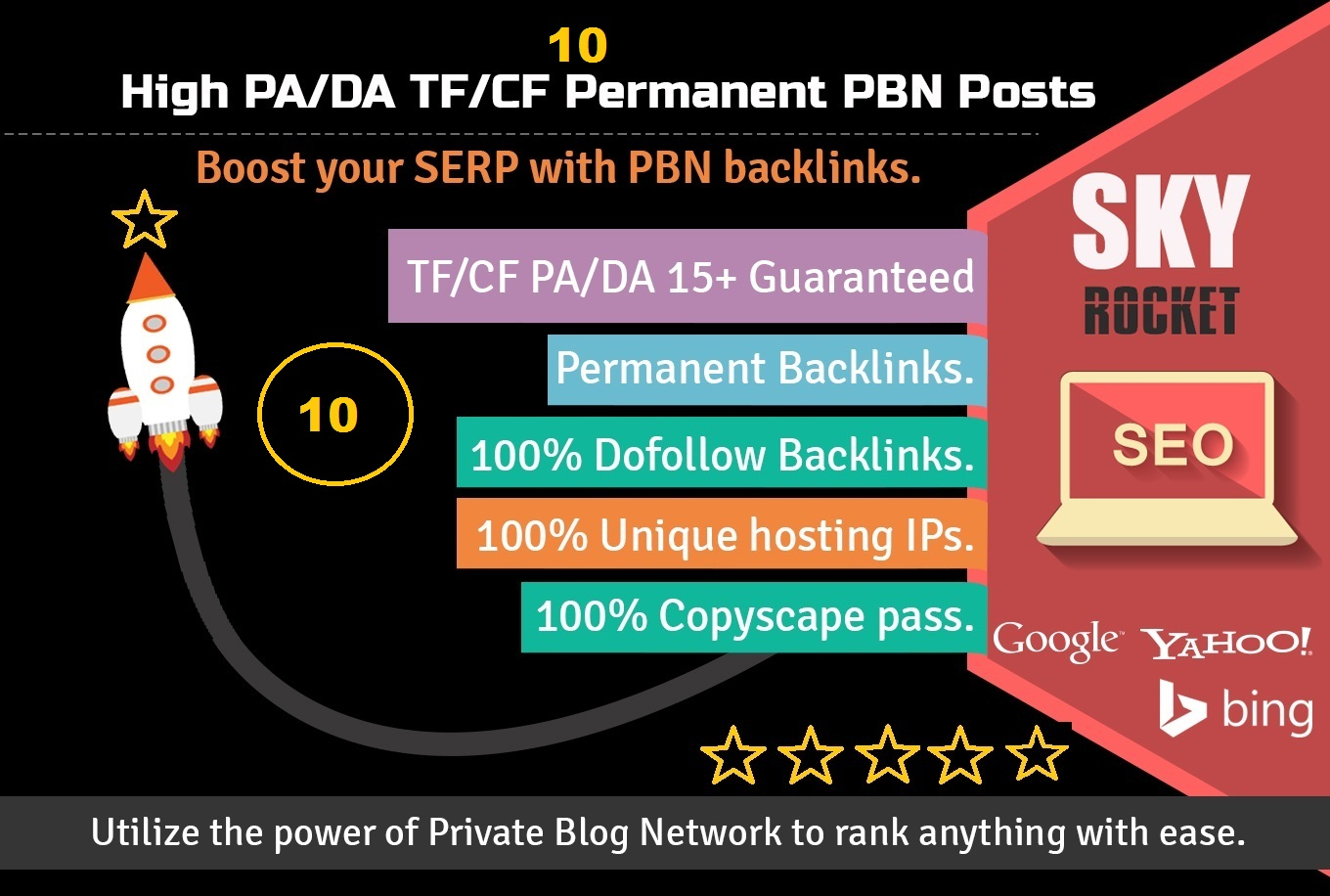 I Will do 10 High PA/DA TF/CF homepage PBN backlinks rank your website