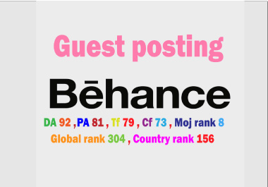 I will write & publish guest post backlinks on Behance.net