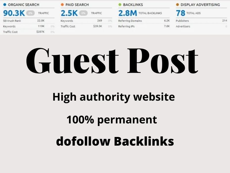 I will publish 5 guest post on high-quality website get millions of traffic